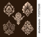 vector set of damask ornamental ... | Shutterstock .eps vector #715575100