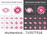set of hurricane scale icons on ... | Shutterstock .eps vector #715577518