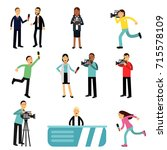 reporters and cameramen... | Shutterstock .eps vector #715578109
