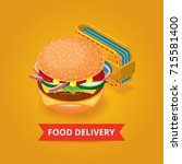 fast food delivery banner   Shutterstock .eps vector #715581400