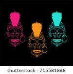 skull icon with mohawk  neon... | Shutterstock .eps vector #715581868
