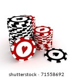 Gambling chips on white background - stock photo