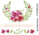 watercolor floral elements | Shutterstock . vector #715589263