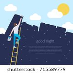 a man on a ladder are holding a ... | Shutterstock .eps vector #715589779