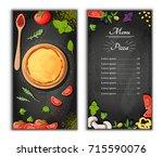 pizza menu chalkboard cartoon... | Shutterstock .eps vector #715590076