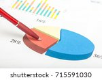pen on documents with charts | Shutterstock . vector #715591030