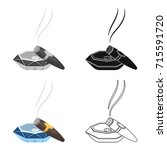 a smoking cigar in an ashtray.... | Shutterstock .eps vector #715591720