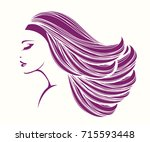 beautiful woman with long ... | Shutterstock .eps vector #715593448