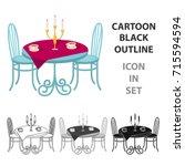 served table in the restaurant. ... | Shutterstock .eps vector #715594594