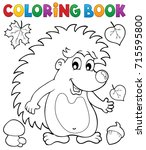 coloring book hedgehog theme 1  ... | Shutterstock .eps vector #715595800