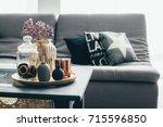 home interior decor in gray and ... | Shutterstock . vector #715596850