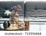home interior decor in gray and ...   Shutterstock . vector #715596868