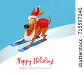skiing cute dog with sack of... | Shutterstock .eps vector #715597240