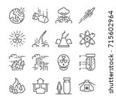 nuclear line icon set. included ... | Shutterstock .eps vector #715602964