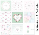 romantic design elements set.... | Shutterstock .eps vector #715606696