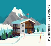 cool vector ski resort mountain ...   Shutterstock .eps vector #715608343