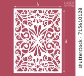 laser cut ornamental panel with ... | Shutterstock .eps vector #715610128