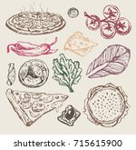 hand drawn italian food. pizza | Shutterstock .eps vector #715615900