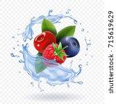 splash of fresh mixed forest...   Shutterstock .eps vector #715619629