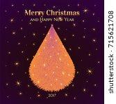 shining neon christmas tree... | Shutterstock . vector #715621708