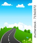 green landscape and road  ... | Shutterstock .eps vector #71563372