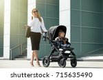 business woman talking on the...   Shutterstock . vector #715635490