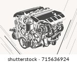 vector illustration of abstract ... | Shutterstock .eps vector #715636924