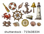 set sea adventure. anchor ... | Shutterstock .eps vector #715638334