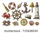 set sea adventure. anchor ... | Shutterstock .eps vector #715638334