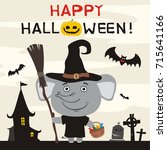 happy halloween  elephant in... | Shutterstock .eps vector #715641166