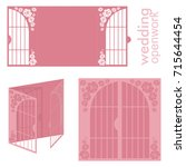 vector wedding card laser cut...   Shutterstock .eps vector #715644454