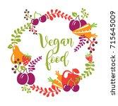 vegan food concept for your... | Shutterstock .eps vector #715645009