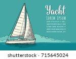 horizontal poster for yacht... | Shutterstock .eps vector #715645024