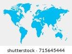 blue world map. | Shutterstock .eps vector #715645444