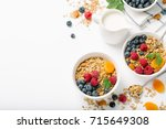 homemade granola and healthy... | Shutterstock . vector #715649308
