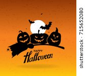 halloween background with full... | Shutterstock .eps vector #715652080