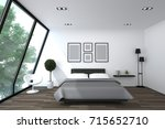 bed room interior  3d rendering  | Shutterstock . vector #715652710
