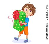 funny cartoon boy with a big... | Shutterstock .eps vector #715662448