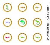 lizard icons set. cartoon style ... | Shutterstock .eps vector #715664854