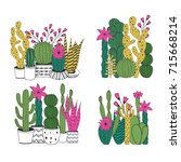 cacti compositions. vector.... | Shutterstock .eps vector #715668214