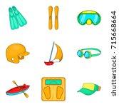 aquatics icons set. cartoon set ...   Shutterstock .eps vector #715668664