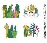 hand drawn cactus prints | Shutterstock .eps vector #715668670