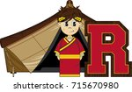 r is for roman   cute cartoon... | Shutterstock .eps vector #715670980