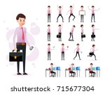 male clerk 2d character ready... | Shutterstock .eps vector #715677304