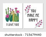 cute cactus cards | Shutterstock .eps vector #715679440