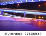 empty road floor with city... | Shutterstock . vector #715680664