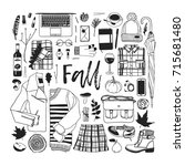 hand drawn fall fashion... | Shutterstock .eps vector #715681480