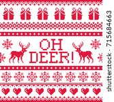 oh deer red pattern  christmas... | Shutterstock .eps vector #715684663