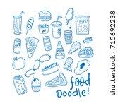 food doodle set illustrations | Shutterstock .eps vector #715692238