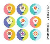 bulb light idea flat modern... | Shutterstock .eps vector #715693414